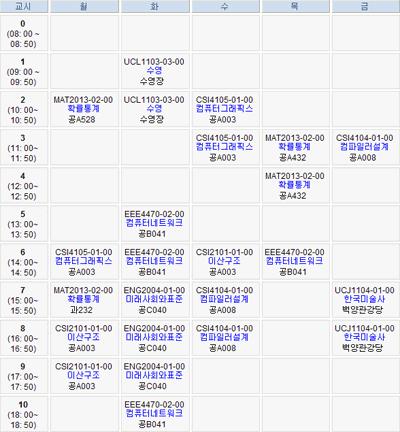 2005년 1학기 시간표
