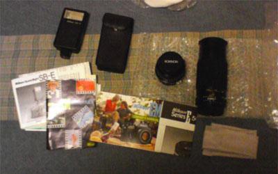 Nikon EM 매뉴얼(!)과 Rokinon 렌즈 두 개