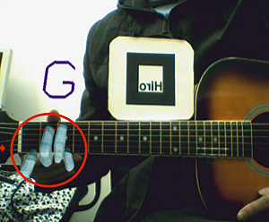 Support System for Guitar Playing using Augmented Reality Display