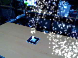추억의 히로 마커 위에 흩날리는 빛알갱이들